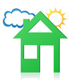 Haussonnen- und -wolkenkonzeptvektorillustration Stockfotos