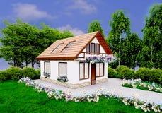 Hausstellung umgeben mit Blumen Stockfotografie