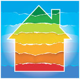 Haussymbol mit EnergieBewertungsmaßstab Stockfotos