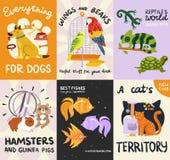 Haustier-Poster und Fahnen eingestellt lizenzfreie abbildung