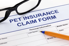 HaustierAnspruch auf Versicherungsleistungen Form Lizenzfreie Stockfotografie