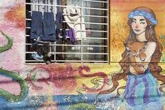 Haustiere auf dem Fensterbrett in Valparaiso, Chile Lizenzfreie Stockbilder