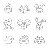 Haustiere bezogen sich die Ikone, die in dünne Linie Art eingestellt wurde Lizenzfreie Stockfotografie