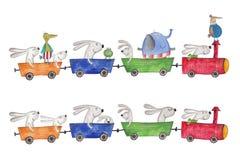 Haustiere, die mit dem Zug reisen Stockfoto