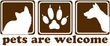 Haustiere sind willkommenes Zeichen Stockfotos