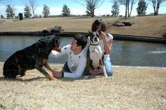 Haustiere und Inhaber Stockfoto