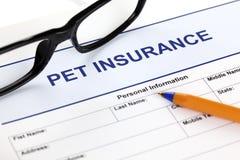 Haustierversicherungsform Lizenzfreie Stockbilder