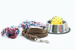 Haustierversorgungen stellten über rostfreie Schüssel, Seil, Gummispielwaren ein stockfotografie