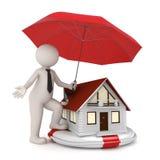 Hausversicherung - 3d Geschäftsmann Lizenzfreies Stockfoto