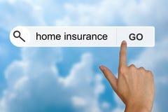 Hausversicherung auf Suchsymbolleiste stockbild