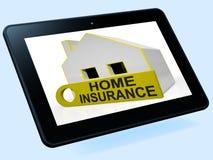 Hausversicherungs-Haus-Tablet zeigt Prämien und die Forderung stock abbildung