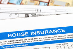 Hausversicherungsanwendung Stockbild