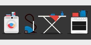 Hauswarensatz, Waschmaschine, Bügelbrett, Ofen, Staubsauger Vektor Stockfoto