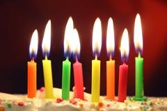 Haut étroit de bougies d'anniversaire Image stock