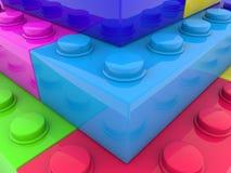Haut étroit de briques colorées de jouet illustration stock
