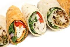 Haut étroit de divers sandwichs à enveloppe Images stock