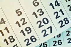 Haut étroit de pages de calendrier Photo stock