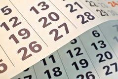 Haut étroit de pages de calendrier Photos libres de droits