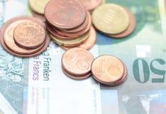 Haut étroit de pièces de monnaie d'argent Photos stock