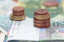 Haut étroit de pièces de monnaie d'argent Image stock