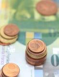 Haut étroit de pièces de monnaie d'argent Photographie stock