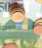 Haut étroit de pièces de monnaie d'argent Photos libres de droits