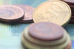 Haut étroit de pièces de monnaie d'argent Photo libre de droits