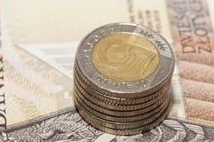 Haut étroit de pièces de monnaie polonaises Photographie stock libre de droits