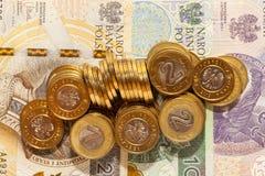Haut étroit de pièces de monnaie polonaises Image stock