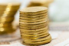 Haut étroit de pièces de monnaie polonaises Images libres de droits
