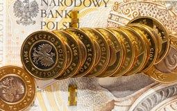 Haut étroit de pièces de monnaie polonaises Images stock