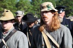 Haut étroit de soldats confédérés de guerre civile Photos libres de droits