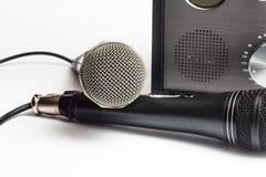 Haut étroit et microphone d'amplificateur Image libre de droits