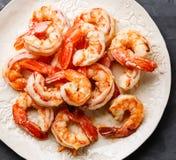 Haut étroit rôti de crevettes roses Photos libres de droits