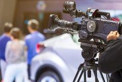 Haut appareil-photo de cinéma de définition sur un décor de film Photo stock