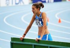 Haut cavalier Alessia Trost de la victoire de l'Italie en hauteur Photo stock