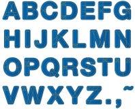 Haut de casse d'alphabet de jeans Photographie stock