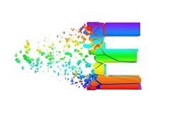 Haut de casse iridescent brisé cassé de la lettre E d'alphabet Police écrasée d'arc-en-ciel 3d rendent d'isolement sur le fond bl Illustration Stock