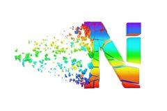 Haut de casse iridescent brisé cassé de la lettre N d'alphabet Police écrasée d'arc-en-ciel 3d rendent d'isolement sur le fond bl Illustration de Vecteur