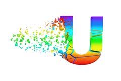 Haut de casse iridescent brisé cassé de la lettre U d'alphabet Police écrasée d'arc-en-ciel 3d rendent d'isolement sur le fond bl Illustration de Vecteur