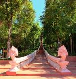 Haut escalier de naga au buriram de kho-kra-Dong, Thaïlande Photographie stock