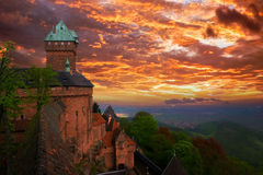 Haut Koenigsbourg Castle, Alsace, France. Sunset over Haut-Koenigsbourg Medieval Castle is the famous Castle of the Rhine Valley in Alsace (France) on which the Royalty Free Stock Photography