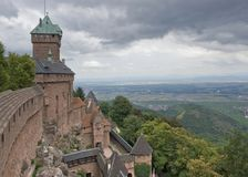 Haut-Koenigsbourg Castle in stormy ambiance Stock Photos