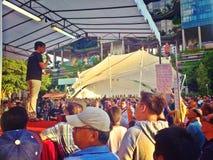 Haut-parleur au rassemblement de protestation à Singapour Photos stock