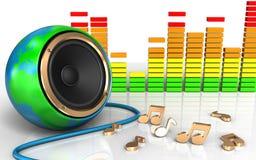 haut-parleur audio de globe de la terre du spectre 3d illustration libre de droits