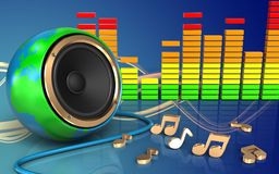 haut-parleur audio de globe de la terre du spectre 3d illustration stock