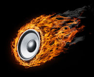 Haut-parleur brûlant - type de musique Photos libres de droits