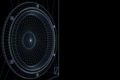 haut-parleur 3D DE HAUTE FIDÉLITÉ dans le style d'hologramme de Wireframe Rendu 3D gentil Photos stock