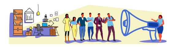 Haut-parleur de mégaphone de participation de patron de femme d'affaires criant à l'annonce de l'information de meneur d'équipe d illustration stock