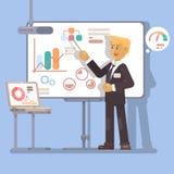 Haut-parleur de séminaire d'affaires faisant la présentation et l'illustration professionnelle Image stock